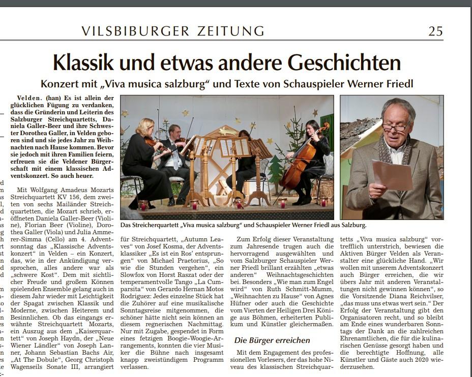 Pressebericht in der Visibiburger Zeitung vom 24.12.2019
